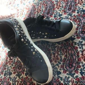 Coach black studded sneakers